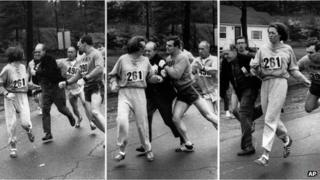 Kathrine Switzer being chased and pushed by race officials at the Boston Marathon, 19 April 1967