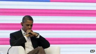 President Barack Obama at the CEO Summit of the Americas in Cartagena