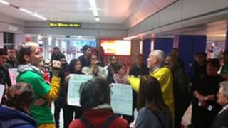 The protest at Manchester airport