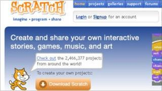 Screengrab of Scratch homepage