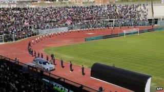 The coffin containing the body of Italian footballer was paraded in front of fans as they paid their last respects at Picchi stadium, in Livorno (17 April 20120)