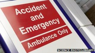 A sign to an Accident and Emergency department