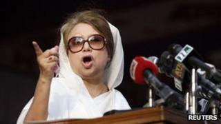 Bangladesh Nationalist Party (BNP) Chairperson Begum Khaleda Zia speaking during a rally, 12 March 2012