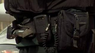 A gun belt and ammunition was left in the house after the search