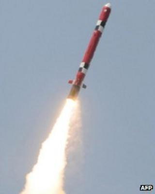 Undated handout picture released on 19 April, 2012 in Seoul by South Korean Defence Ministry via Yonhap shows the test-launch of its new cruise missile