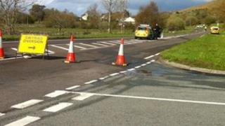 The A4244 was closed off following the crash