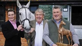 Jockey Daryl Jacob, owner John Hales and trainer Paul Nicholls with Neptune Collonges