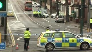 Police near the Hubb pub on Hucknall Road