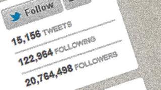 Screenshot of Justin Bieber's follower count