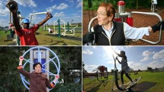 Montage of four images featuring adults using outdoor gym equipment