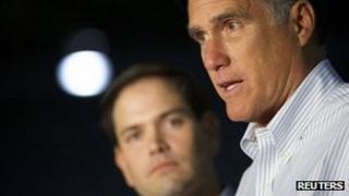 Mitt Romney and Marco Rubio in Aston, Pennsylvania, 23 April 2012.