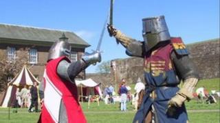 Knights jousting at Carlisle Castle