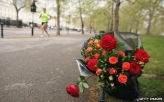 Flowers left in tribute to Claire Squires