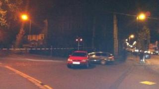 The scene of the alert at Ballygomartin Road