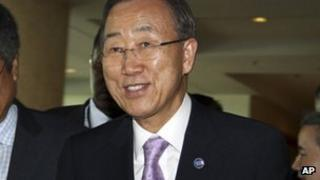 UN Secretary-General Ban Ki-moon arrives at his Rangoon hotel