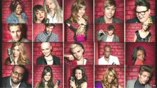 grid of 20 faces- all 20 finalists in The Voice
