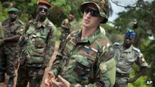 US special forces officer with Ugandan and Central African Republic forces in Obo, 29 April 2012