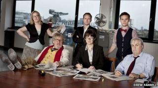 Enquirer(2) l to r: Gabriel Quigley, John Bett, Billy Boyd, Maureen Beattie, James Anthony Pearson and Billy Riddoch