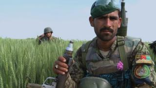 Afghan soldier on exercise in Helmand province
