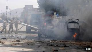 Pakistani firefighters extinguish burning auto-rickshaws after a bomb explosion in Quetta (file photo)