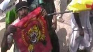 Flag associated with the defeated Tamil Tigers at Tuesday's rally