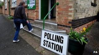 A polling station in Derby