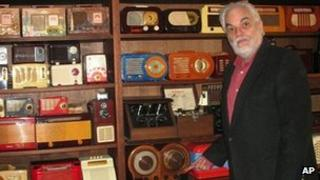 J David Goldin, shows his radio collection in Sandy Hook, Connecticut 30 April 2012