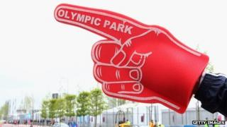 A foam hand points the way for spectators at Olympic Park