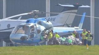 Guernsey Post helicopter at Guernsey Airport