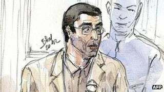 Adlene Hicheur in court, 29 Mar 12 - sketch