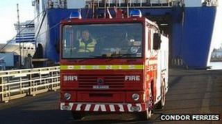 Fire appliance driving off Commodore Goodwill