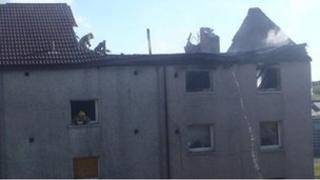 Scene of the fire in Berwick Road, Greenock