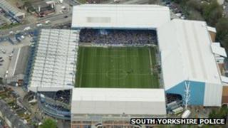 View of Hillsborough Stadium from South Yorkshire Police helicopter