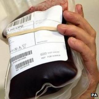Bag of donated blood
