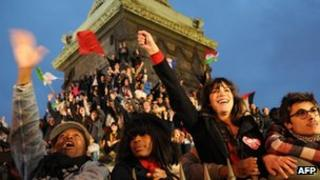 Supporters of Socialist Party candidate for the 2012 French presidential election celebrate at Place de la Bastille in Paris.