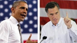 Undated combination photo of 2012 images of US President Barack Obama and Republican presidential candidate Mitt Romney
