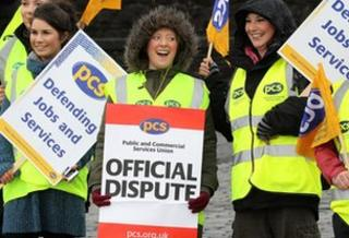 Staff picket the entrance to Stirling Castle