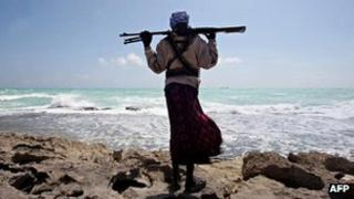 A pirate in northern Somalia in January 2010