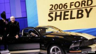 Car designer Carroll Shelby with a 2006 Shelby Mustang at the 2006 New York International Auto Show