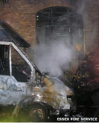 Burnt out van outside CoExist Gallery, Southend-on-Sea