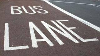 Bus Lane road markings