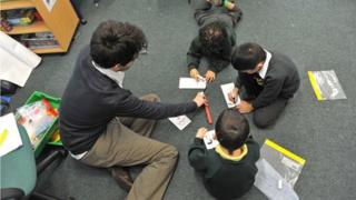 Pupils in class with teacher