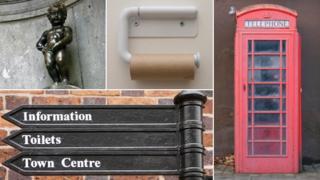 From top left, clockwise Manneren pis statue in Belgium, empty loo roll, telephone box, public sign
