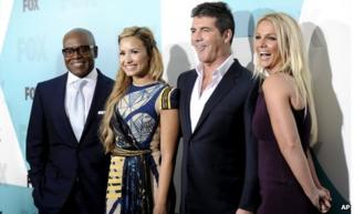 Britney Spears joins the X Factor line up with (l-r) LA Reid, Demi Lovato and Simon Cowell