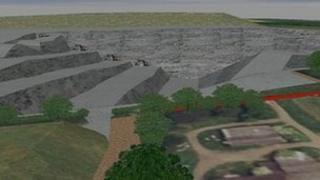 Computer model of opencast mine