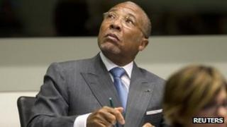 Former Liberian President Charles Taylor attends his trial at the Special Court for Sierra Leone based in Leidschendam, outside The Hague, 16 May 2012