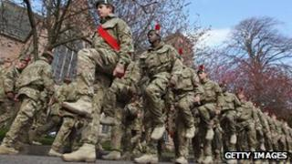 Black Watch regiment on homecoming march