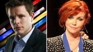 Jake Humphrey and Cathy Dennis (Cathy photo: Getty Images)