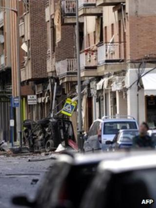 The aftermath of an Eta bomb blast in Calahorra, Spain, 21 March 2008