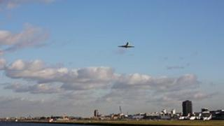 The view east from below the Connaught Bridge of the London City Airport
